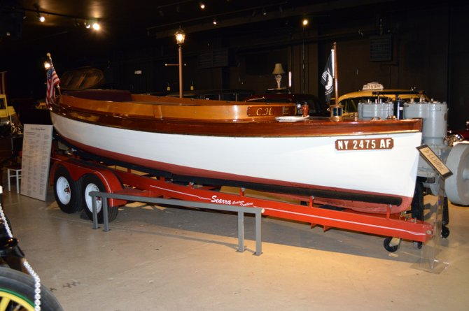 A 1900 22-foot Lozier Launch featured at the Champlain Valley Transportation Museum.