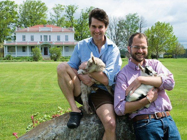 The Fabulous Beekman Boys, Josh Kilmer-Purcell and Brent Ridge, outside the Beekman House in Sharon Springs, NY