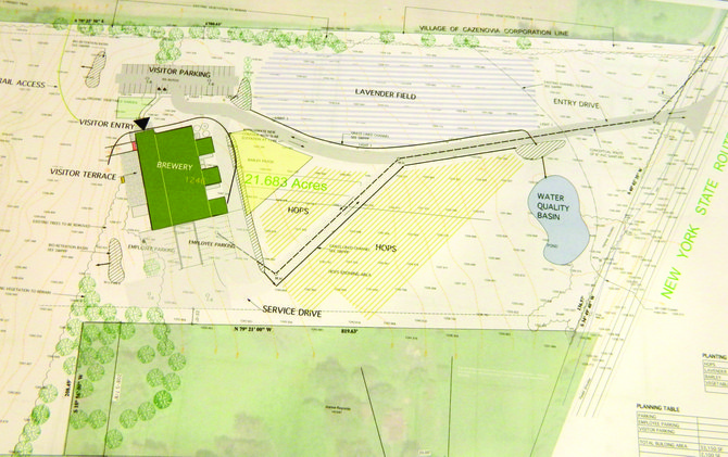 The preliminary site plan for the proposed Empire Brewing Company farmstead brewery on Route 13 in Cazenovia shows lavender and hops fields, and the main building and parking lot at the back of the lot. The proposed site for the development is in the town immediately over the village line; the property shares its boundary line with southern edge of Lorenzo, near the Rippleton Schoolhouse.