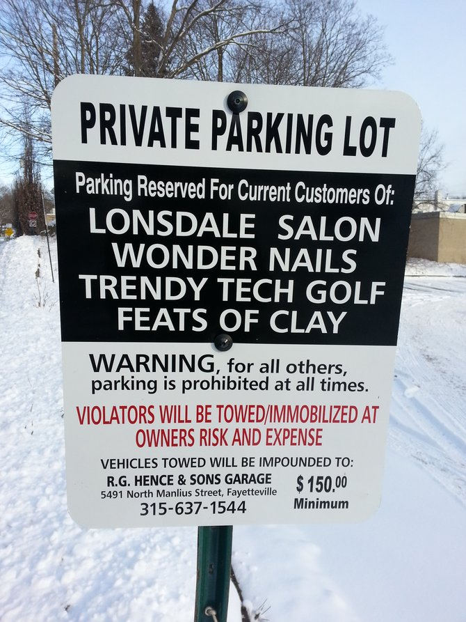 These signs have been posted all over lot 14 during the past few weeks to inform customers of the parking situation .