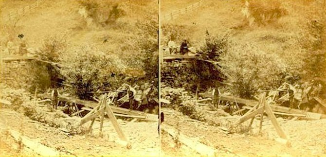 Stereo image of 1860 gold miners working at dam aon Smith's Claim, at Gold Miner's Glen, in Plymouth, Vt. This rare photo was taken by F.B. Gage and published by E. Anthony, New York, N.Y. It was auctioned to a collector in 2008, by Holabird-Kagin Auctioneers, for $1,200.