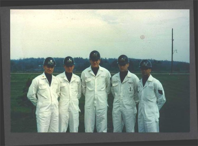The launch crew of the U.S. Air Force's 556th Strategic Missile Squadron Silo 2 in Alburg, Vt., in 1964.  Photo courtesy of the Town of Alburg.