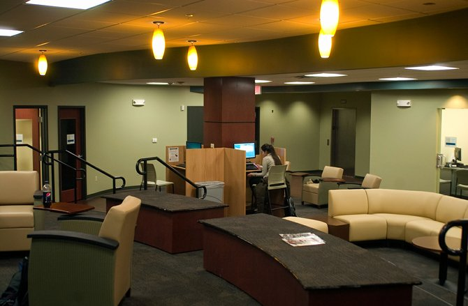 A large, open common area welcomes Schenectady County Community College students to the college's expansion at Center City.
