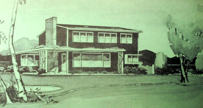"Exterior views of Ruth Reynolds Freeman's Vermont solar house circa 1946. This original drawing, by Reynolds Freeman, appeared in the groundbreaking book, ""Your Solar House"".  (Photo courtesy of Simon & Schuster)"