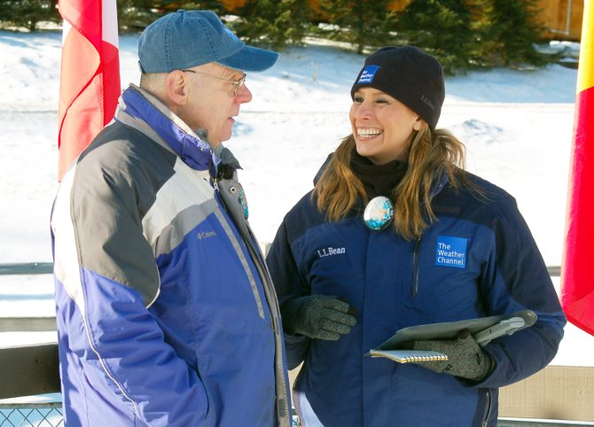 Weather Channel reporter Stephanie Abrams interviews Saranac Lake Winter Carnival Committee Chairman Jeff Dickson Tuesday morning, Feb. 5, live on the air at the Olympic Sports Complex in Lake Placid while lugers practice on the track for the World Cup luge races this weekend. The Weather Channel also interviewed Olympic Regional Development Authority spokesman Jon Lundin and USA Luge assistant coach Duncan Kennedy. Abrams spent Monday learning how to luge with USA Luge team member Erin Hamlin and reported live Tuesday from 5:30 to 11 a.m.