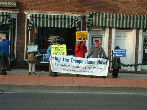 Local anti-war group Bethlehem Neighbors for Peace marked its 10th anniversary last week with a vigil held at Delmar's Four Corners.
