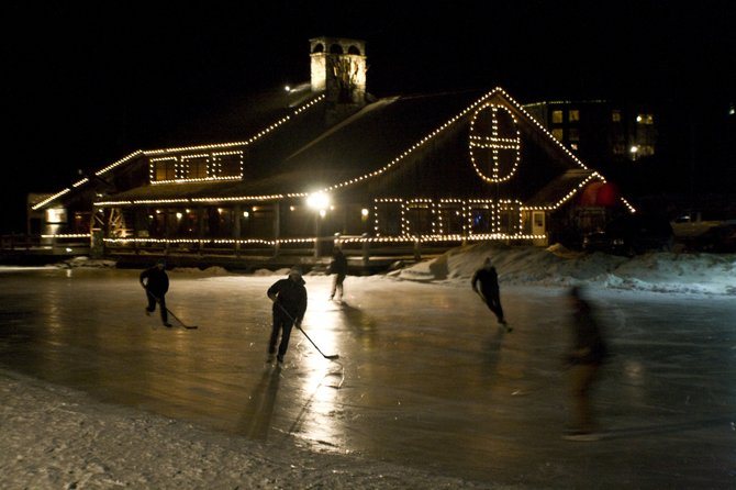 Skaters in the Rutland-Killington area are lacing up and taking to the ice on Summit Pond in Killington. The Foundry at Summit Pond officially opened last week for public day and night skating, bringing the popular winter activity back to the area. Photo courtesy of Kate Edson.