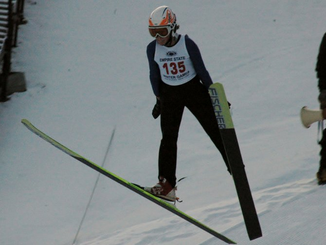 A ski jumper from Lake Placid competes during the Empire State Winter Games.
