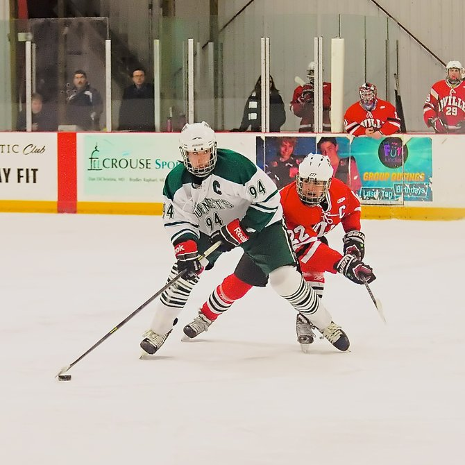 Fayetteville-Manlius forward Anthony Angello (94) was a large reason why the Hornets beat Baldwinsville 7-1 to clinch second place in Division I West and a first-round sectional playoff home game, putting up a three-goal hat trick and adding an assist.