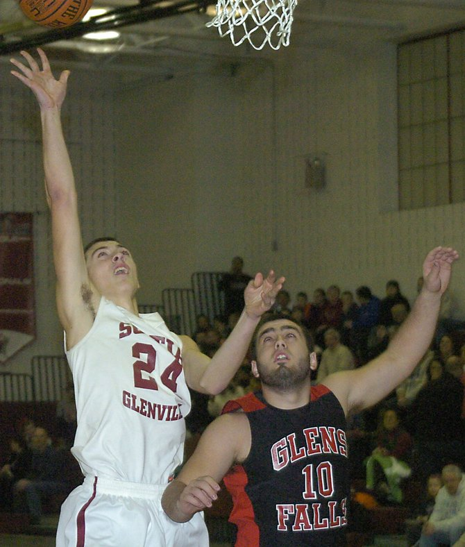 Scotia-Glenville&#39;s Joe Cremo goes in for a layup during the first quarter of a Feb. 7 Foothills Council game against Glens Falls.