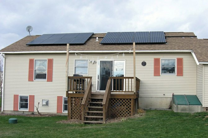 Shannon Haggett's new solar-panel installation in Vergennes.