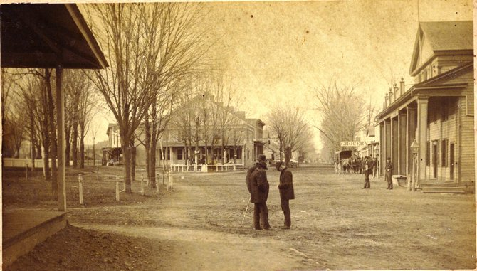 Warrensburg's downtown — now the site of the Floyd Bennett Memorial Bandstand and Rite Aid Pharmacy — is depicted in this vintage photo, believed to be taken in the 1870s.