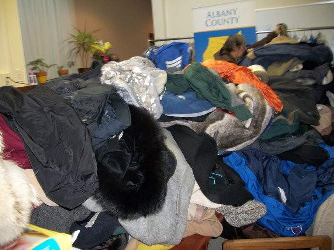 Donated coats for those in need to wear through the winter as part of the Katie's Koats campaign.