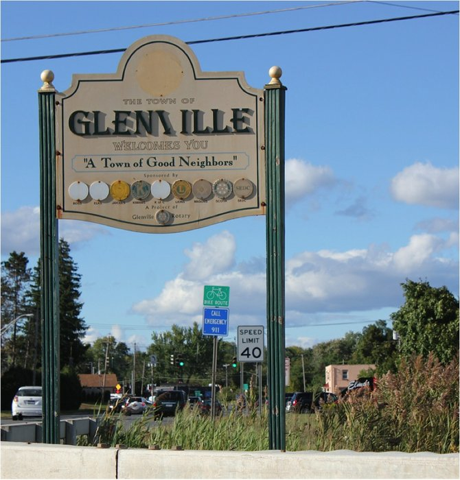 Andre Claridge said its important for Glenville to look ready for business, pointing to one of the towns entrance signs, as well as taking steps to promote economic growth.