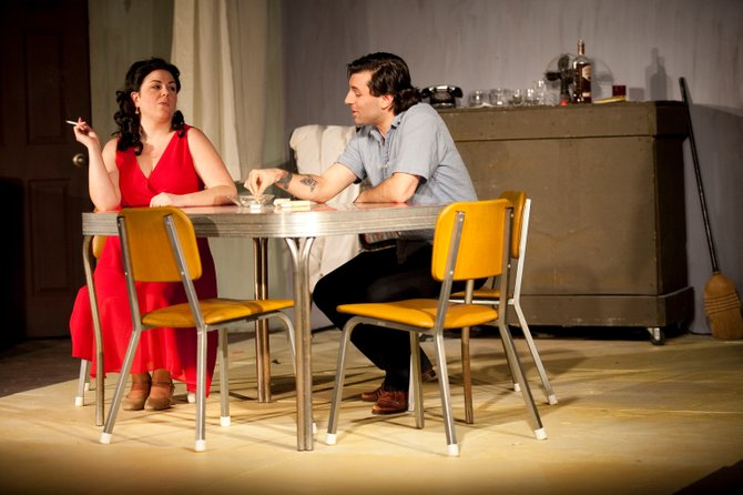 """Jodi Baum and Jordan Glaski star as Blanche DuBois and Stanley Kowalski in the CNY Playhouse production of Tennessee Williams 1947 drama """"A Streetcar Named Desire,"""" now playing at Shoppingtown Mall in DeWitt, at 8 p.m. Sunday, Feb. 17; and again at 8 p.m. Feb. 21, 22 and 23."""