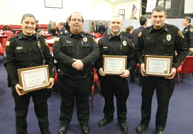 Members of the Cazenovia Police Department were recognized by Madison County last week for their outstanding records enforcing DWI laws. From left, Cazenovia Police Sgt. Karen Zaleski, Chief Michael Hayes, Officer Christopher Manion and Officer Richard Bennett attended the 25th annual Law Enforcement Day luncheon in Wampsville, where Zaleski, Manion and Bennett all received awards. Also honored, but not present, were Cazenovia PD Officers Stephen White and George Millet.