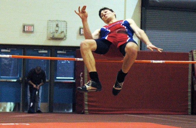Paul Ford won the Section VII State qualifier high jump competition Feb. 16 at the Plattsburgh State Fieldhouse.