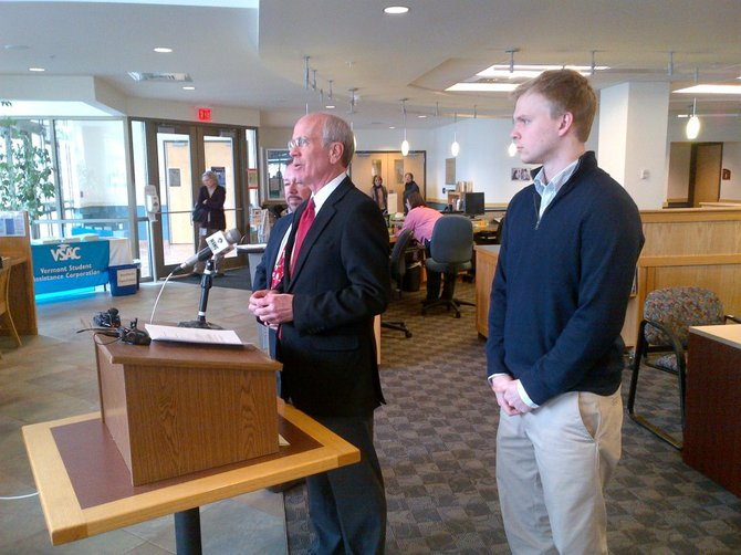 U.S. Rep. Peter Welch (D) stood alongside Don Vickers, president and CEO of VSAC, and college student Ethan Lee, a resident of Lincoln, at an in-state news conference.