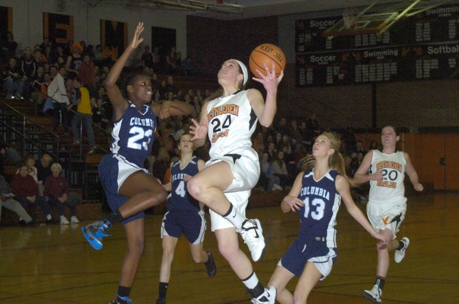 Bethlehem&#39;s Gabby Giacone goes in for a layup during Friday&#39;s Section II Class AA quarterfinal game against Columbia in Delmar.