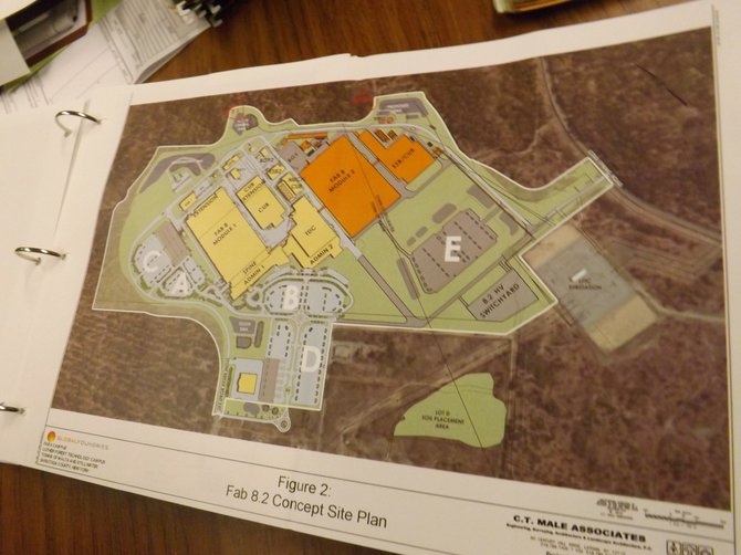 The site plan design shows the proposed second chip fab plant at Global- Foundries. 