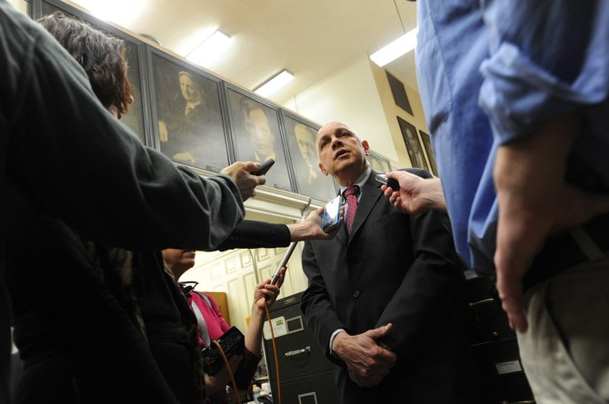 NYSUT President Dick Iannuzzi talks to the media Wednesday, Feb. 20, after the union filed a legal challenge to the state's property tax cap law.