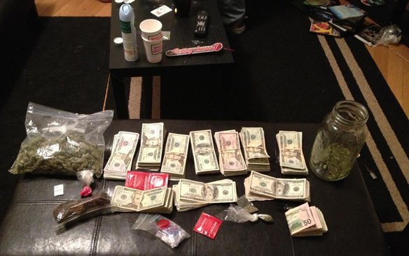 The cash, cocaine and marijuana seized by sheriff's officers during a raid at a Morrisville apartment last week.