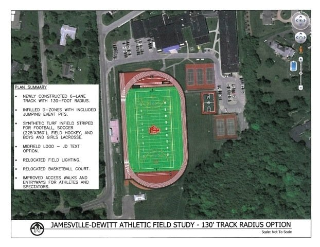 This proposed drawing gives an idea of what the proposed turf field will look like, as well as a summary as to what will be constructed during the project.