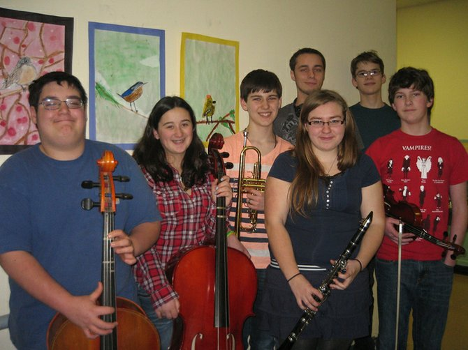 """Savor the Arts"" will be held at the Crown Point Central School Thursday, March 14, at 6 p.m. in the auditorium. It will feature about 50 student musicians, actors and artists. Preparing are John-Roch Sears, Mickaela Gunnison, Erick DuShane, Drew Malone, Sam  LaPointe, Michaela Comes and Noah LaPointe."