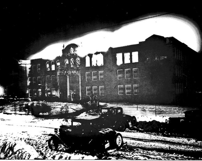 The new Ticonderoga High School was nearly destroyed March 9, 1933, by a roaring fire battled for hours by Ti and Port Henry firefighters. The blaze lit up the night sky for miles.