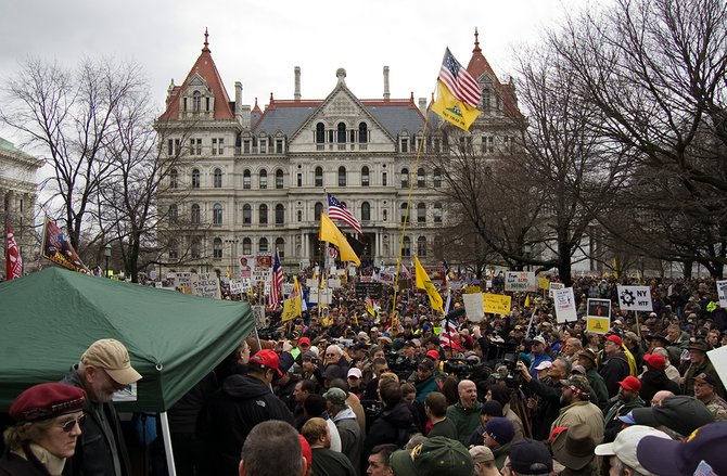 Thousands of Second Amendment advocates rally against the NY SAFE Act at the Capitol Thursday, Feb. 28.