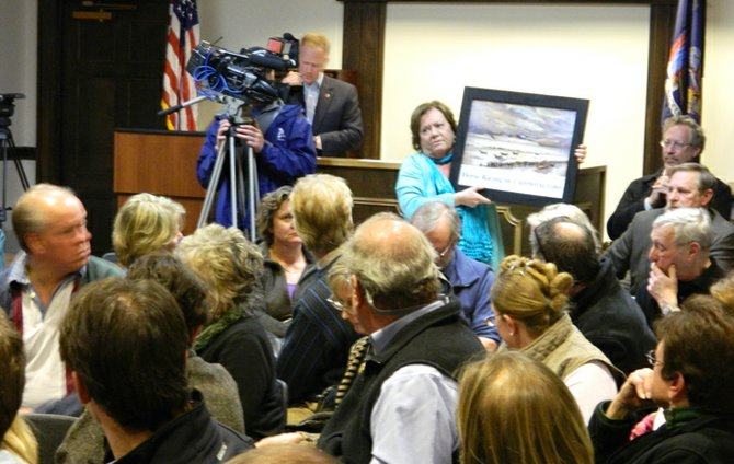 Rippleton Road resident Jody Reynolds, standing, holds up a painting of Lorenzo viewed from the south with a shadow of the brewery's estimated dimensions superimposed in the background as a way to suggest that the size of the brewery will be too large. The March 11 planning board public hearing had more than 50 attendees and was filmed by two television news crews