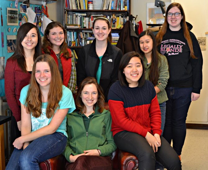Ten F-M High School student writers were recently recognized for excellence in writing in the 2013 Scholastic Arts and Writing Awards. From the left are Autum Chapman, Lainie LaRonde, Sonja Hale, Laurel Moffat, Caroline Withers, Hye Joo Lee, Danielle Levinson and Jenna Boland. Not pictured are Laura Duntley and Audrey Cleaver-Bartholomew.