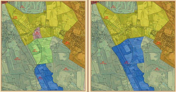 The map on the left shows the proposed zoning changes, with the map on the right displaying current zoning.