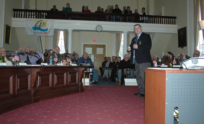Essex County Sheriff Richard Cutting speaks to members of the Essex County Board of Supervisors and those in a packed Old County Courthouse March 18 about the issues and concerns he had with the SAFE Act, New York States new gun control law which has been hotly debated throughout the state. The county became the 50th out of 62 in the state to pass legislation in opposition to the law.	