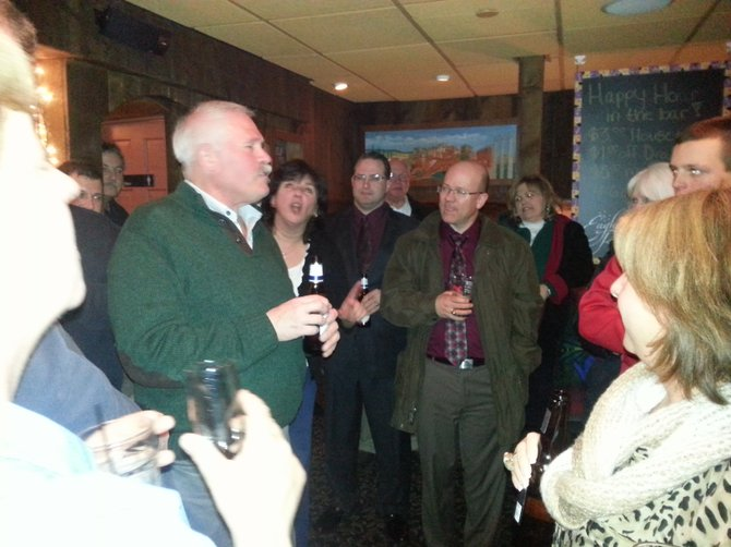 Newly elected Manlius Mayor Paul Whorrall addressed a crowd of nearly 50 supporters at Bella Cigna after the election
