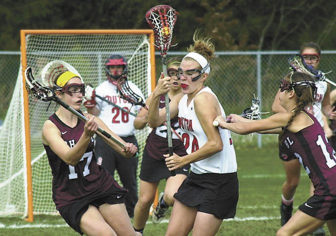 Morgan Hardt -- seen here in a 2012 Suburban Council game against Burnt Hills-Ballston Lake -- is one of a handful of starters back from last year&#39;s Guilderland girls lacrosse team.