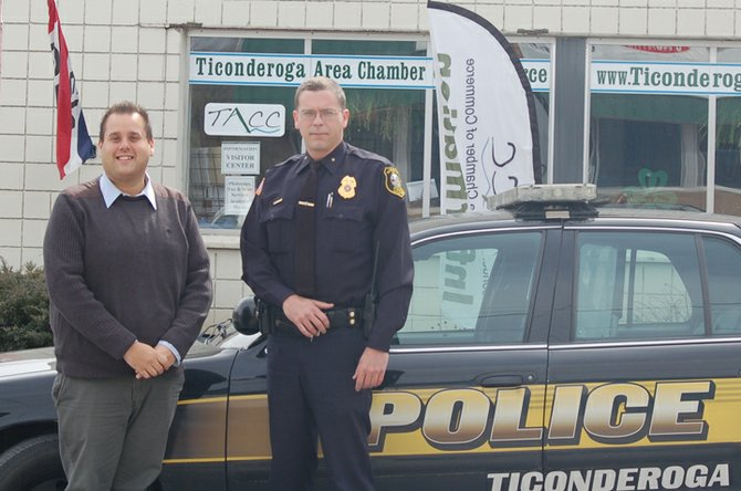 Matthew Courtright, left, Ticonderoga Area Chamber of Commerce executive director, and Ticonderoga Police Chief Mark Johns plan the April 24 chamber business roundtable. Johns will be guest speaker.