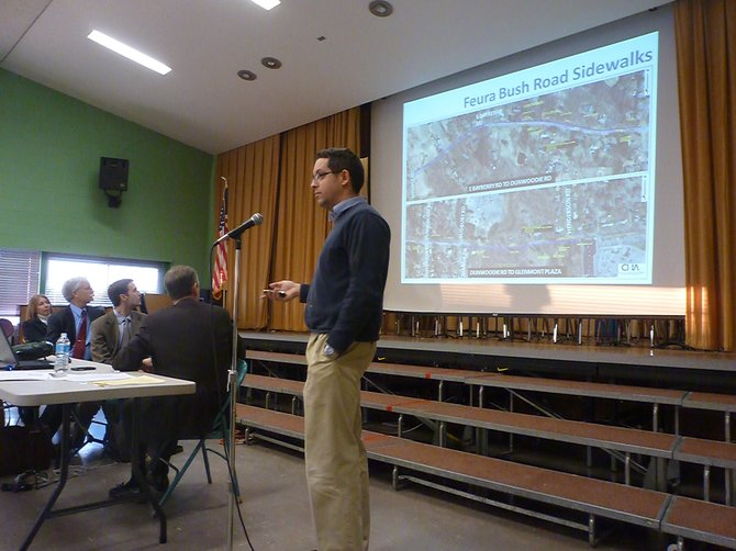 Bethlehem Commissioner of Public Works Erik Deyoe speaks at a community forum held in Glenmont. Town officials and residents focused mostly on the high rate of development in the area.