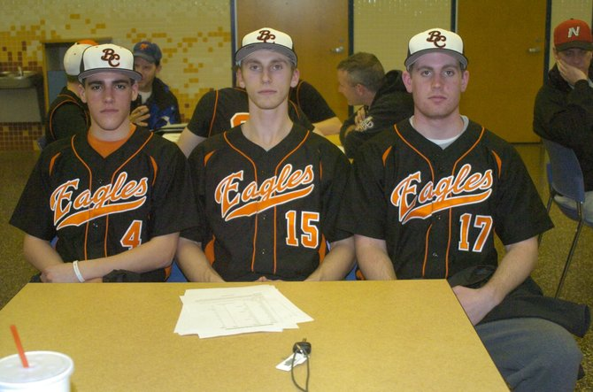 The Bethlehem baseball team has its sights set on winning the Suburban Council South Division and Section II Class AA titles this year after a strong finish to the 2012 season. Among the returning players are, from left, senior captains Nick DiNapoli, Eric Mueller and Pat Rarick.