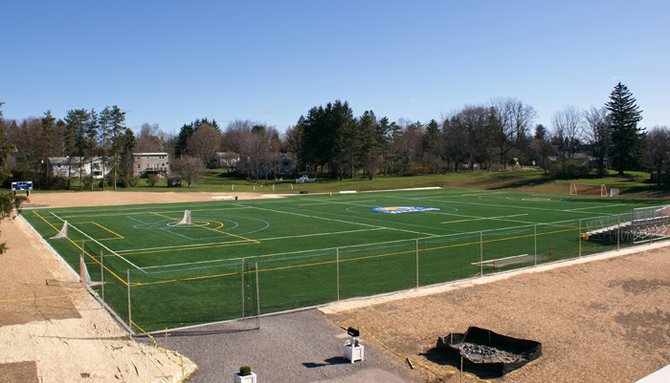 Cazenovia College's Christakos Field, made of artificial turf, was completed in December 2011 and inaugurated for play in spring 2012. In July 2012 the college proposed to build a six-foot-high fence around the athletic complex but was denied by the village zoning enforcement officer. The issue is currently before the village zoning board of appeals.