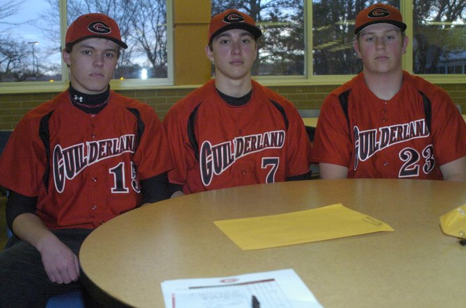 Seniors Tim Coppinger, left, Lewis Lima, center, and Joe Bender hope to lead Guilderland to the Section II Class AA title after last year's loss in the semifinals.