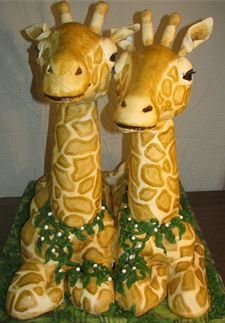 A giraffe cake is just one of the 3D cakes Felser has made for her clients so far.