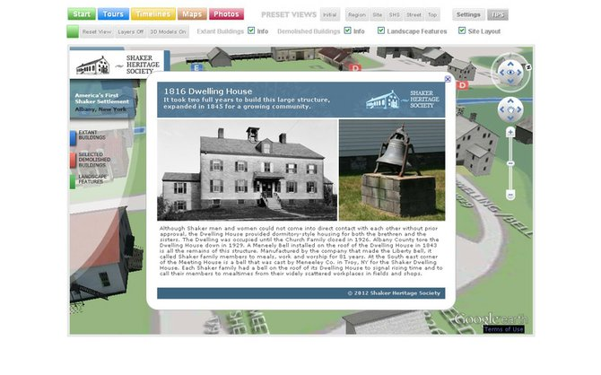Virtual Watervliet has several options for tours, including a 3D tour with Google Earth, a 2D map tour and a site layout, all with clickable images that describe infrastructure and even people that once lived there. Each tour has its own features and elements to further depict the Shaker site.