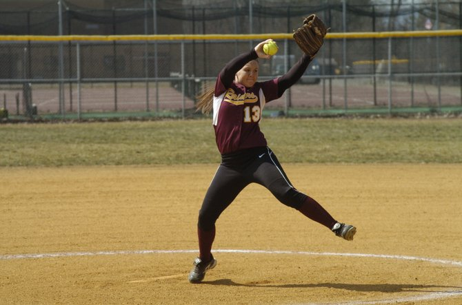 Colonie's Kelly Lane delivers to the plate during Friday's Suburban Council South Division opener against Averill Park.