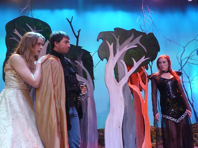 "Cinderella, played by Alisa White, stands with her Prince Charming, Jack LaVigne, while the witch, Elle Luts, looks on. All will perform in Bethlehem High School's 2013 production of ""Into the Woods."""
