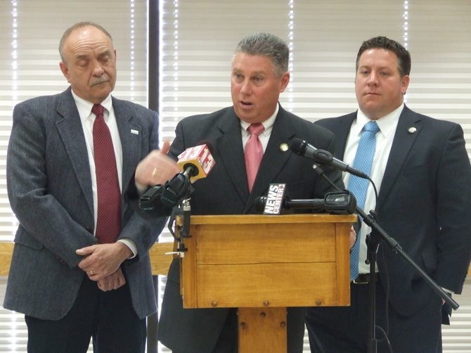 Acting Cohoes Mayor George Primeau, Assemblyman John McDonald and Albany County Executive Dan McCoy address the public about Albany County's response to the New York State budget.