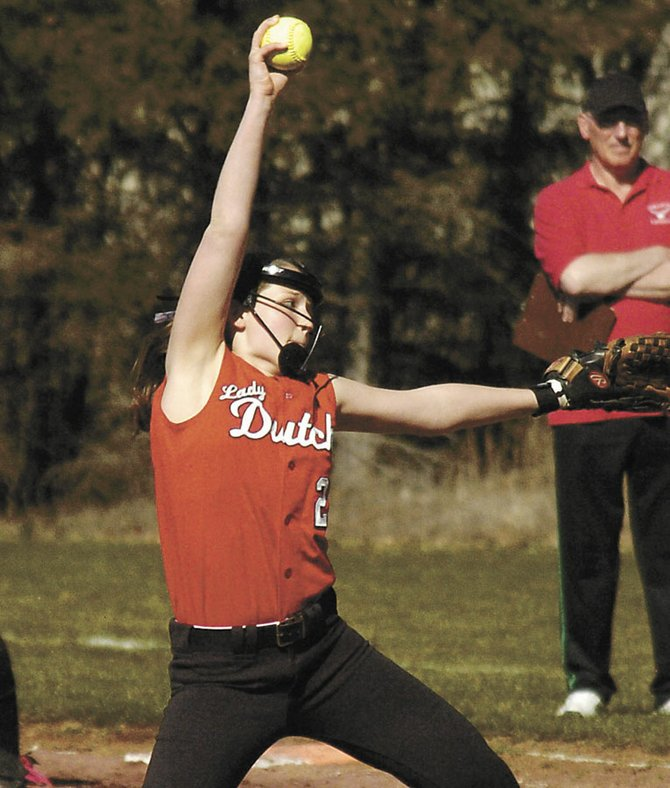 Guilderland pitcher Taylor Tewksbury delivers to the plate during an April 17 Suburban Council game against Niskayuna.