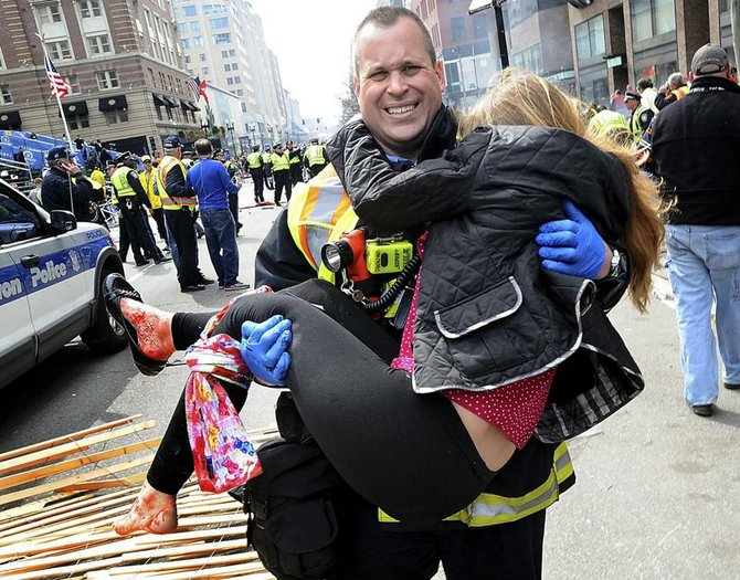 James Plourde, a Boston firefighter from Colonie, helped an injured woman during the Boston Marathon bombing last week.