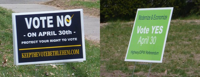 Keep the Vote Bethlehem and Modernize and Economize lawn signs for the Highway special referendum vote on April 30.