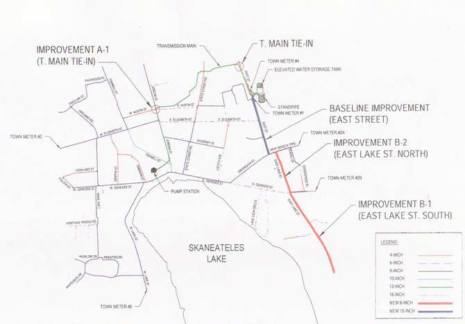 A map of the village water system highlighting the proposed improvements.